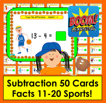 Boom Cards  Math Subtraction Facts 11-20: Type Answers:  Sports Theme!