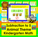 Boom Cards Math Subtraction: Kindergarten Fact Fluency to 5 - Animal Theme