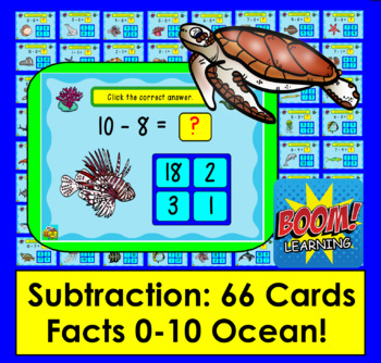 Boom Cards  Math Summer Subtraction 66 Facts to 10 Multiple Choice: Ocean Theme!