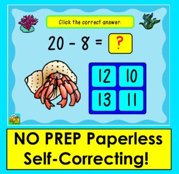 Boom Cards  Math Summer Subtraction 50 Facts 11-20 Multiple Choice: Ocean Theme!