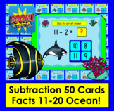 Boom Cards  Math Summer Subtraction 50 Facts 11-20 Multipl