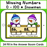 Boom Cards • Missing Numbers 0-100 • Snowmen