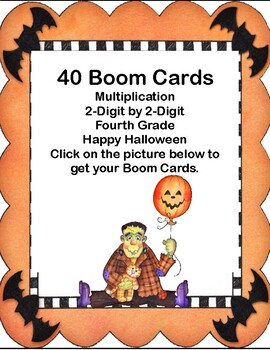 Boom Cards-Multiplication-2-Digit by 2-Digit-Fourth Grade-Halloween Theme