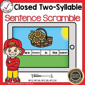 Boom Cards Multisyllabic Closed Syllable Sentence Scrambles