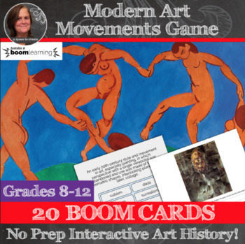 Boom Cards -  No Prep Art History - Modern Art Movements Digital Task Cards