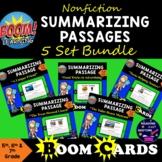 Boom Cards Nonfiction Summarizing Passages Bundle - 5 Sets