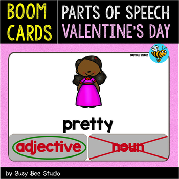 Boom Cards   Noun, Verb and Adjective Clip Cards (Valentine's Day)