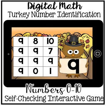 Boom Cards - Number Identification 0-10 (November Digital Math Kindergarten)