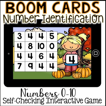 Boom Cards - Number Identification Fall Themed (Kindergarten Math)