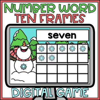Boom Cards Number Words & Ten Frames Digital Activity Winter Theme