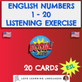 Boom Cards Numbers 1 - 20 ENGLISH Listening Comprehension