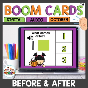 Boom Cards Numbers Before and After October Themed