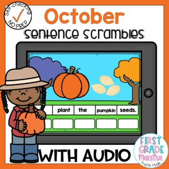 Boom Cards October Sentence Scrambles