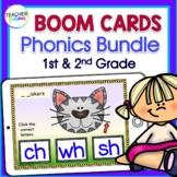 FIRST GRADE BOOM CARDS : 1st Grade PHONICS Bundle Digraphs, Consonant Blend, CVC