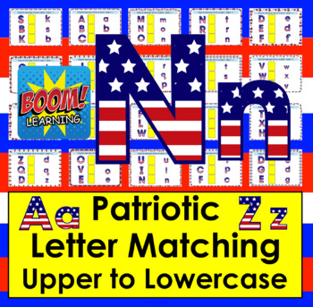Boom Cards™ Patriotic Letter Recognition Alphabet Match Upper to Lowercase