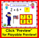 Boom Cards Patriotic Math Addition Facts to 10: MULTIPLE CHOICE:  56 Cards!