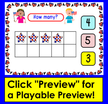 Boom Cards Patriotic Math Counting to 20 - With Ten Frames Self-Correcting