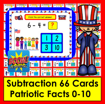 Boom Cards Patriotic Math Subtraction Facts to 10: MULTIPLE CHOICE:  66 Cards!