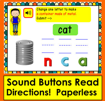 Boom Cards™ Phoneme Substitution Interactive Self-Chkg Digital Cards with Sound!