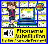 Boom Cards™ Phoneme Substitution Interactive Self-Chkg Dig