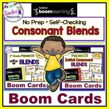 DIGITAL Boom Cards Phonics CONSONANT BLENDS Bundle for 1st Grade