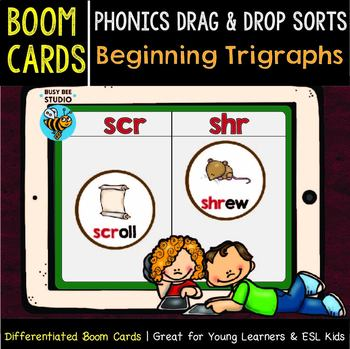 Boom Cards | Phonics Drag and Drop Sorts | Beginning Trigraphs