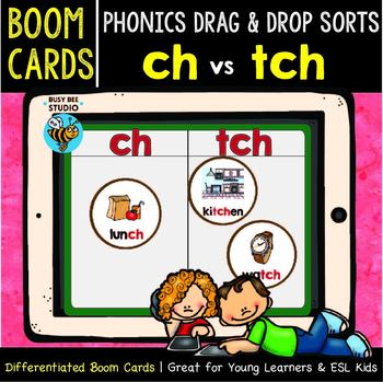Boom Cards | Phonics Drag and Drop Sorts | Digraphs ch and tch