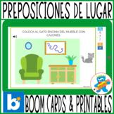 Prepositions of place Spanish Boom Cards and printables Preposiciones de lugar