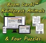 Boom Cards™ Rainforest Animals & Four Puzzles