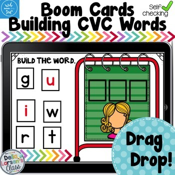 Boom Cards Reading CVC Words On a Pocket Chart