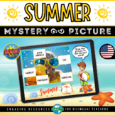 Boom Cards™ SUMMER VOCABULARY Mystery Picture   ESL End of Year Reading Game