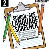 Boom Cards™️ School-Age Language Screener: 2nd Grade