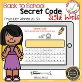 Boom Cards Sight Words 26-50 Secret Code