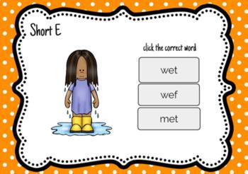 Short E CVC Digital Task Cards for Kindergarten or First