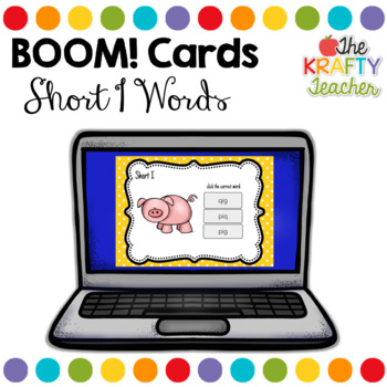 Short I CVC Digital Task Cards for Kindergarten or First