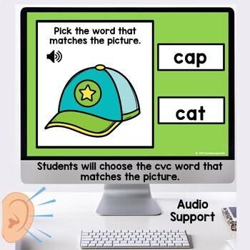 Boom Cards Short vowel CVC Digital Task Sample Set