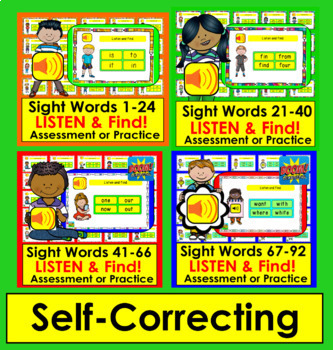 Boom Cards Sight Word Assessment or Practice BUNDLE:  220 Dolch Words: 10 Decks