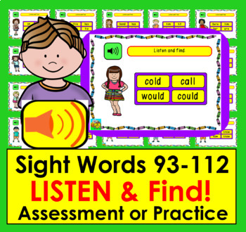 Boom Cards™ Sight Words Assessment 5: MULTIPLE CHOICE:  First Grade Dolch 93-112