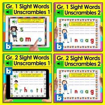 Boom Cards™ Sight Words MEGA BUNDLE:  220 Sight Words UNSCRAMBLES Differentiate!