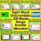 Boom Cards Sight Word Digital MEGA BUNDLE 220 Words UNSCRA