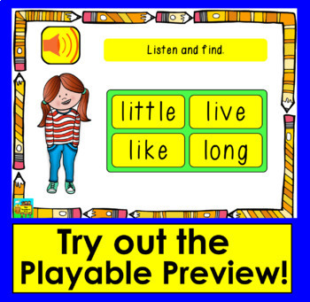 Boom Cards™ Sight Words Assessment 1: MULTIPLE CHOICE-Dolch Words 1-20 PrePrimer