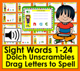 Boom Cards™ Sight Words Unscramble - Dolch 1-24 PrePrimer With Sound!