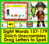 Boom Cards™ Sight Words Unscramble - Second Grade Dolch 157-179 - Pirates!