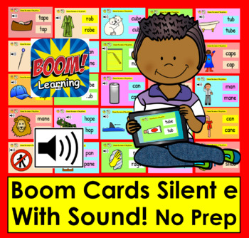 Silent e - 25 Interactive Self-Checking Digital Task Cards - Boom Cards™