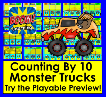 Boom Cards™ Skip Counting By 10 to 100 With Monster Trucks-Interactive Paperless