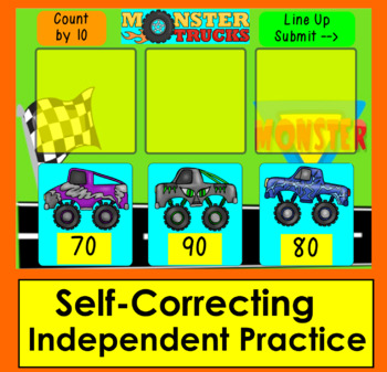 Boom Cards Math Skip Counting By 10 to 100 With Monster Trucks Paperless NO PREP