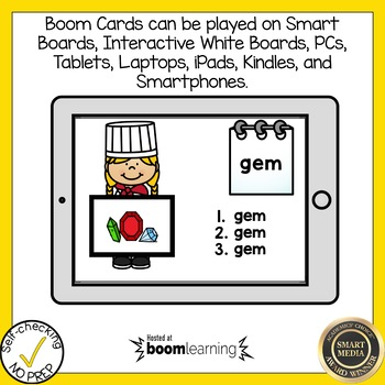 Boom Cards Soft C and Soft G Write the Word