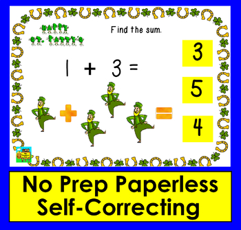 Boom Cards St. Patrick's Day Math Kindergarten Fact Fluency to 5-Animated Images