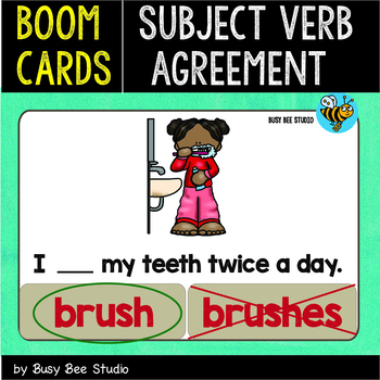Boom Cards | Subject Verb Agreement (Pr. Simple) | Easy Grammar for Kids