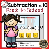 Boom Cards Subtraction to 10 Back to School